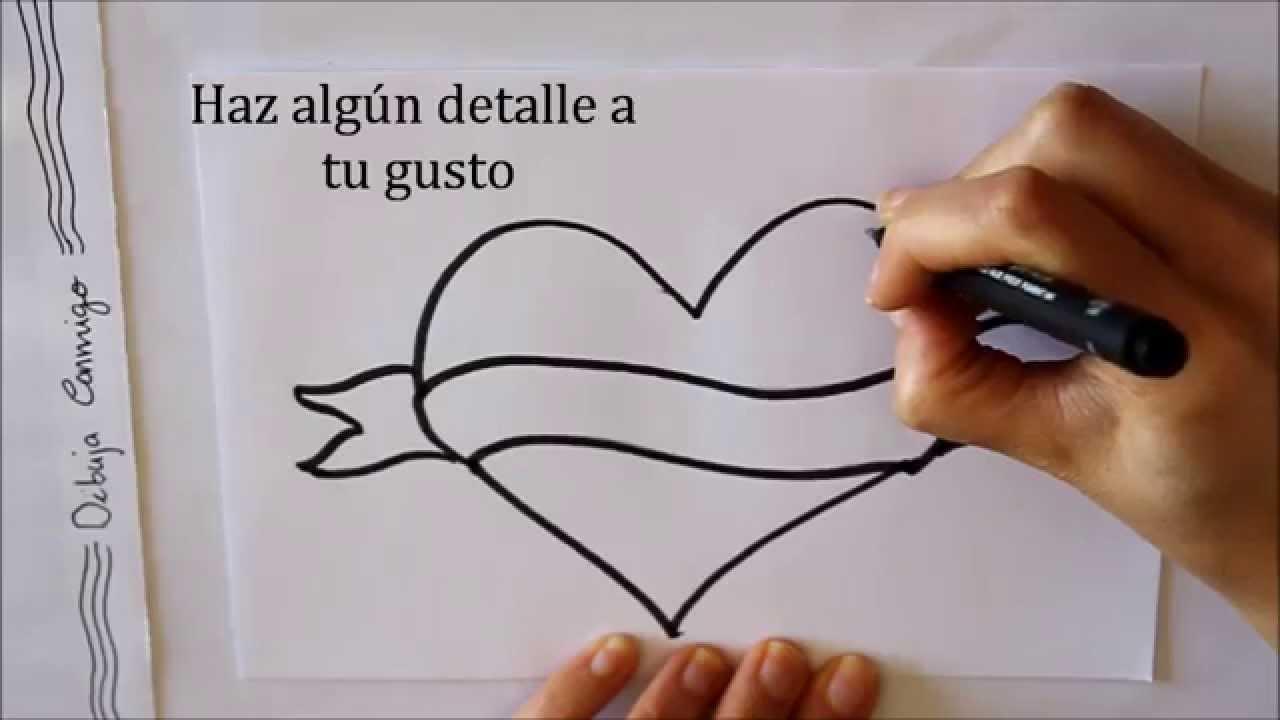 Dibujos De Amor: Cómo Dibujar Un Corazón Con Letrero Dibuja Conmigo Dibujos