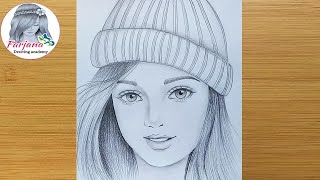 How to draw a girl wearing winter cap for beginners || Pencil sketch || bir kız nasıl çizilir