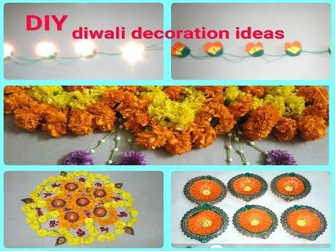DIY diwali decoration ideas at home:-(diya decoration,how to make marigold flower garlands).!!