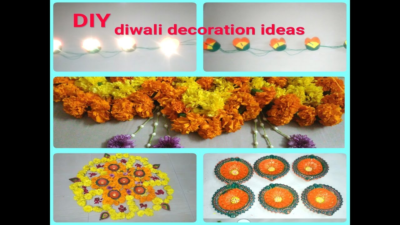 Diy diwali decoration ideas at home diya decoration how for How to make diwali decorations at home