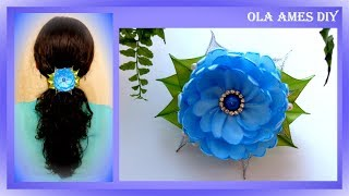 Цветы из атласных лент/ DIY Flower hair clip/ Flores de fitas/ Ola ameS DIY