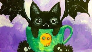 Black Cat Bat Kawaii   EASY Acrylic Painting   The Art sherpa FOR KIDS