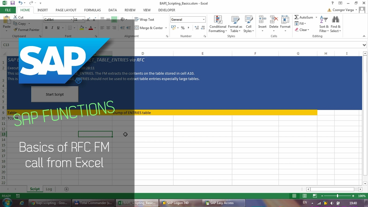 SAP Function BAPI Scripting - Calling RFC FM from Excel