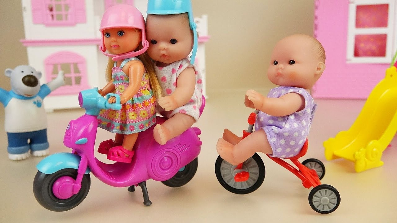 Baby Doll Scooter And Bicycle Play Park Toys Youtube