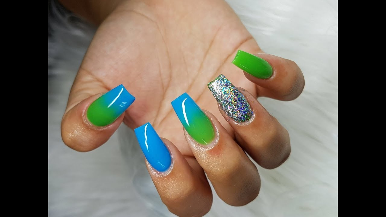 How To Two Toned Colored Acrylic Ombre Nails Cakesinc