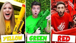 NERF BATTLE using only ONE COLOR Nerf Guns! (Extreme Boy vs Girl DIY Challenge)