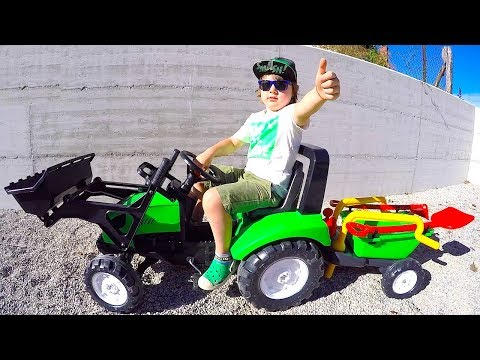 Funny Baby Unboxing and Assembling New Tractor Ride On POWER WHEEL Bulldozer Playtime Fun