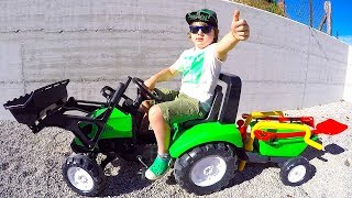 Funny Baby Unboxing and Assembling New Tractor Ride On POWER WHEEL Bulldozer