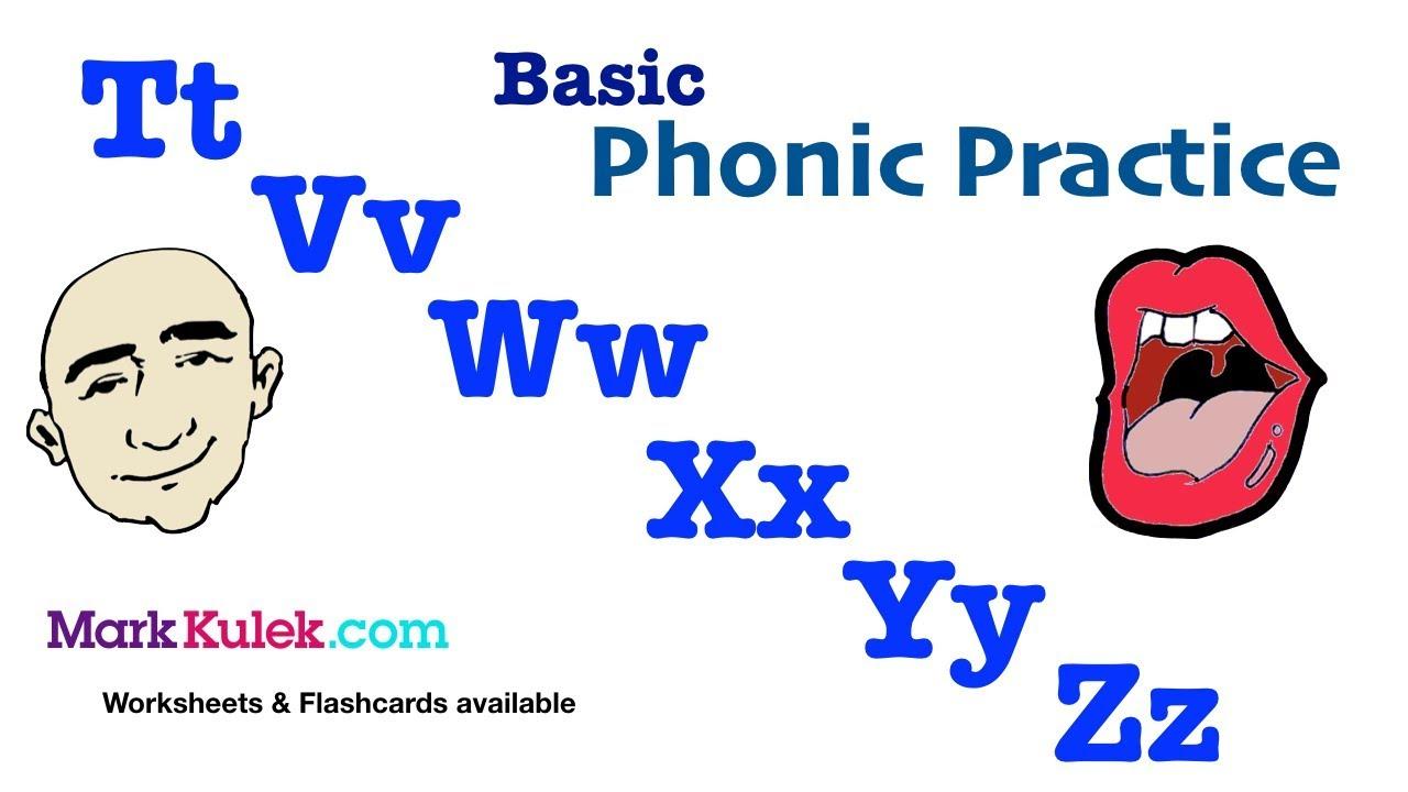 Basic Phonics - Tt Vv Ww Xx Yy Zz | English Pronunciation Practice ...