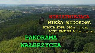 Gambar cover Wałbrzych nieistniejąca wieża widokowa. Szczyty: Ptasia Kopa 590m n.p.m. i Lisi Kamień 600m n.p.m.