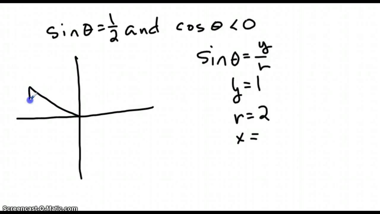 Calculate 6 trig functions given sin theta equals one half