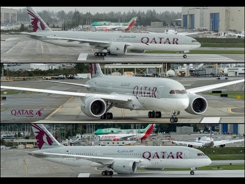 Boeing delivers 3 Qatar Airways' airplanes on a single day in bad weather and rain