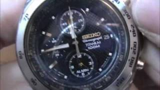 Seiko Titanium Alarm Chronograph Watch SNAB93P1