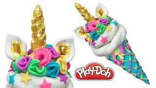 Play Doh Ice Cream . How to Make Golden Unicorn Ice Cream. Creative Fun for Beginners and Kids