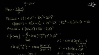 Negative Binomial Distribution - Derivation of Mean, Variance & Moment Generating Function (Engl