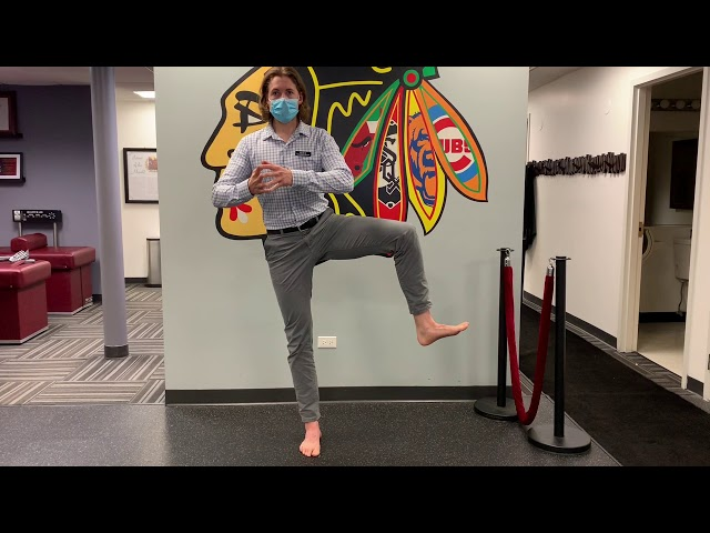 Standing on One Leg while Rotating the Opposite Hip