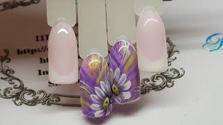 Сложный фон и ромашки   Дизайн ногтей для начинающих мастеров