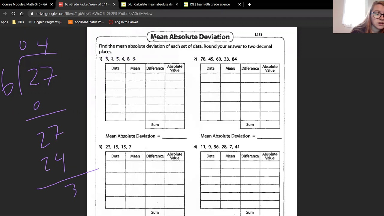 6th Grade Math Mean Absolute Deviation Worksheet (5/11/20) - YouTube [ 720 x 1280 Pixel ]