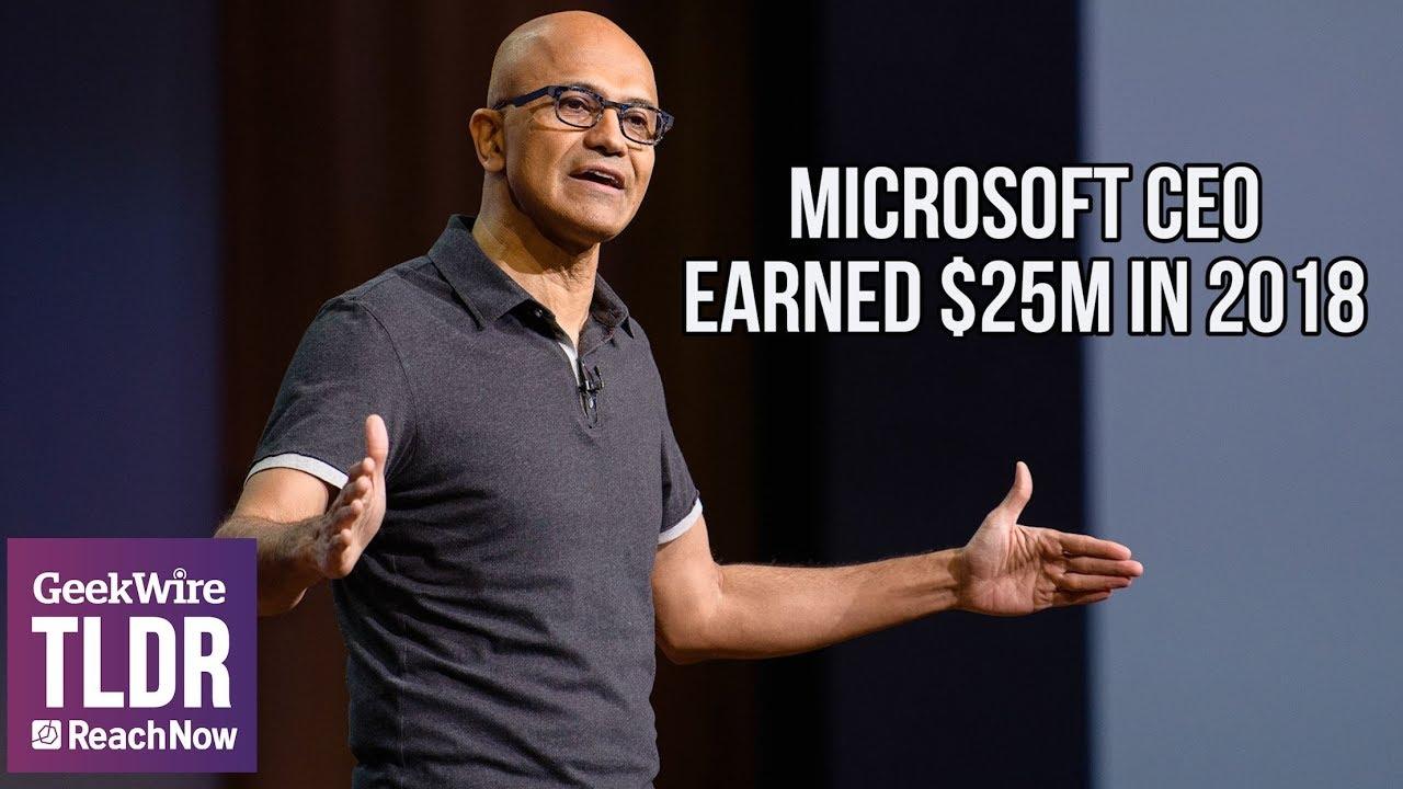 Microsoft's record year helps CEO Satya Nadella earn more