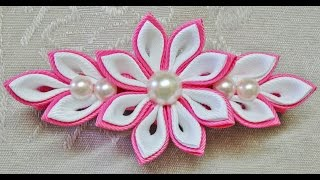 Repeat youtube video DIY kanzashi flower hairclip, kanzashi flower tutorial, how to, kanzashi flores de cinta