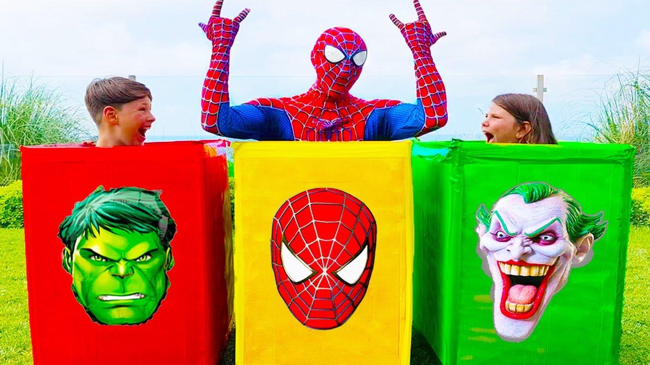 슈퍼 히어로와 함께 신비한 상자 아이 장난감 놀이 척 Mystery Superheroes Boxes Kids Toys Stories