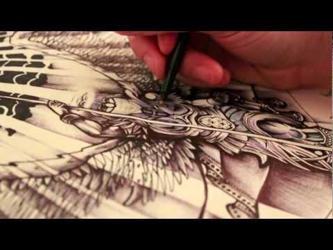 st michael vs the devil archangel tattoo design ink drawing lucifer. Black Bedroom Furniture Sets. Home Design Ideas