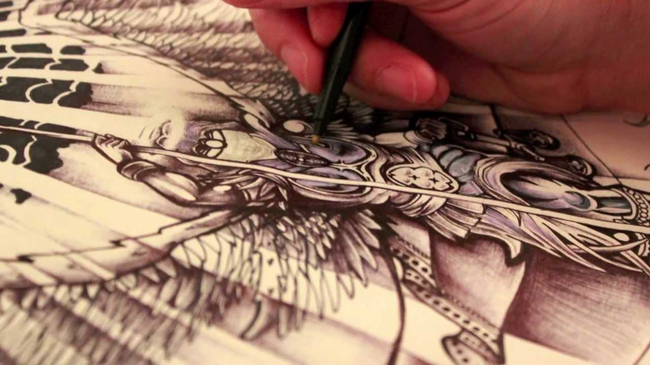 87a49c2f81fab The Devil - Archangel Tattoo Design - Ink Drawing - Lucifer - YouTube