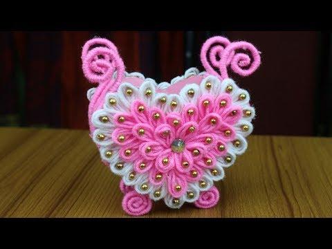amazing!!-woolen-design-for-home-decor---woolen-craft-idea---best-reuse-ideas---diy-arts-and-crafts