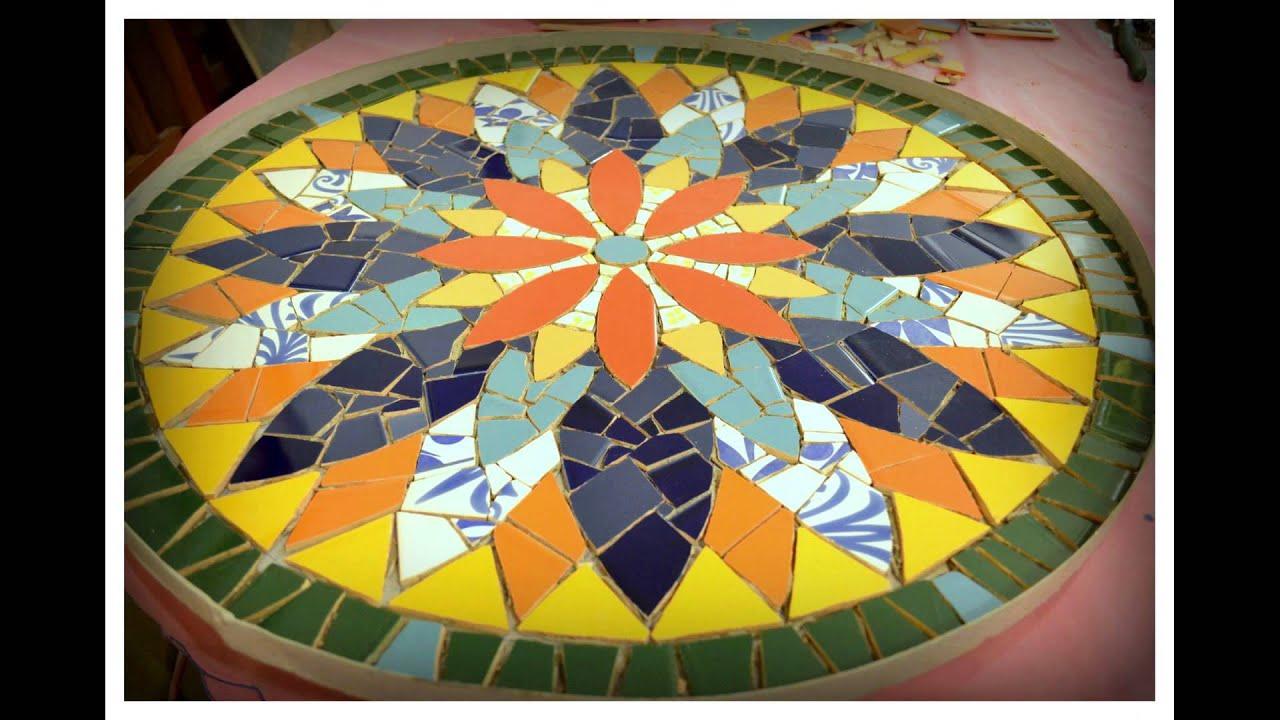 Mandala akbal mosaico art stico youtube for Mosaico madera pared