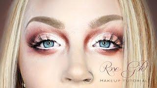 smokey rose gold eye face makeup tutorial