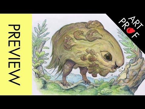 How to Draw a Creature Design with Colored Pencil & Watercolor