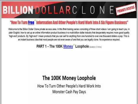 Billion Dollar Clone Instant Business Home Study Package