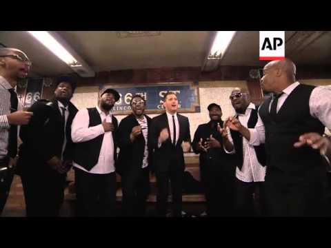 Michael Buble sings acapella in the New York City subway