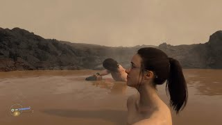DEATH STRANDING - Sam Takes a Bath with Mama in a Hot Spring + How to Bring Mama to a Hot Spring