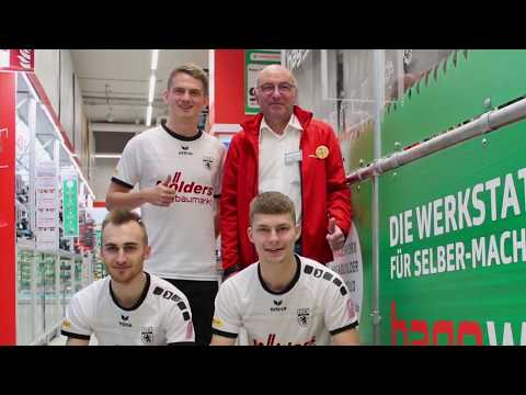 LSK-Spieler in der neuen hageworX Werkstatt im Mölders hagebaumarkt in Adendorf