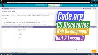 Intro to HTML - Web Development Lesson 3.7 - Code.org CS Discoveries