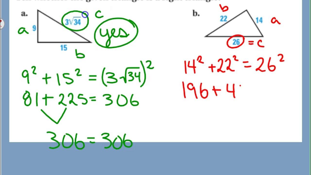 7.1/7.2 Video Notes - Pythagorean Theorem/Converse - YouTube
