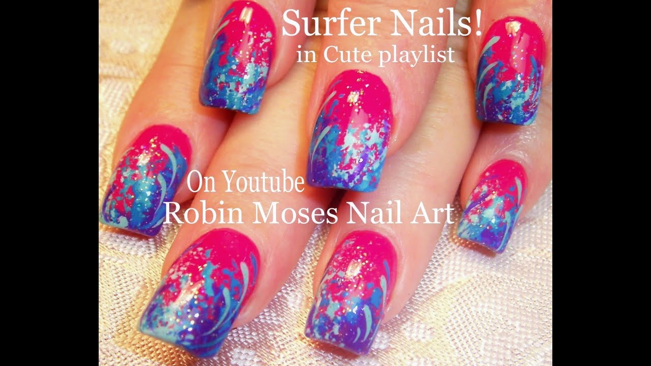 Surfer Girl Sponge Nail Art Design Cool Waves Nails Tutorial