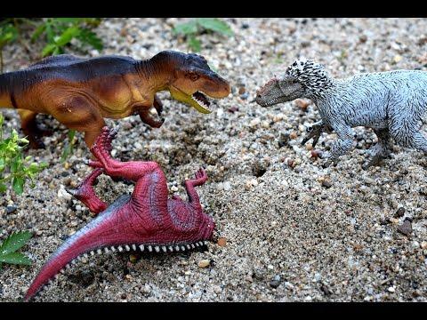 Tyrannosaurus Rex Hunting Giganotosaurus ft Yutyrannus. Dinosaurs Toys Battle