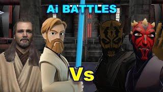 Ai Battles - Darth Savage and Maul vs Obi Wan and Qui Gon Jinn - Jedi Academy