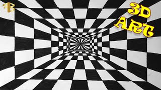 How To Draw 3d Tunnel Drawing - Optical illusion - Step By Step 3d Drawing - 3d illusion - 3d Art