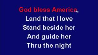 """God Bless America"" Karaoke with lyrics and instrumental music in key of D major"