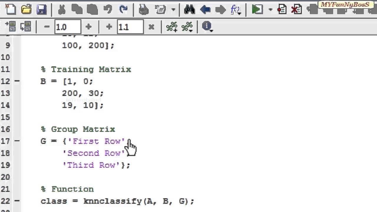 Matlab Function - Nearest Neighbour-knnclassify( )