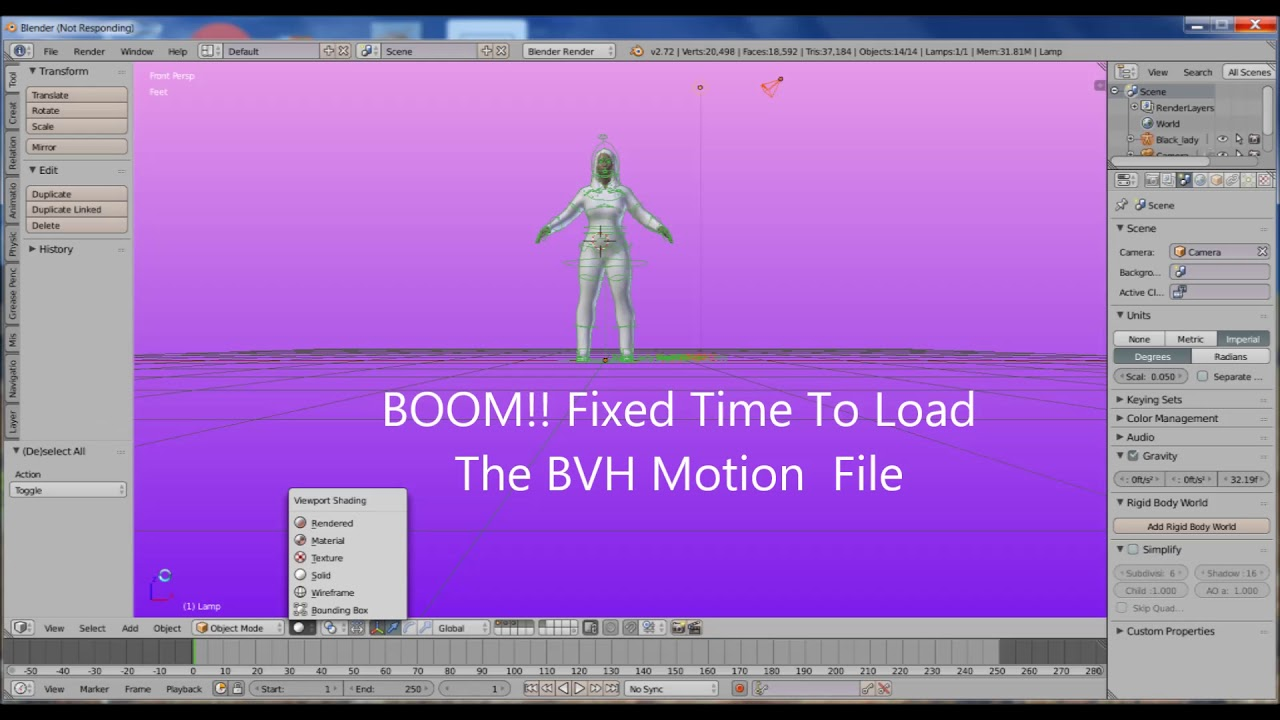 How To Load Motion Capture BVH Files To Blender Charcters