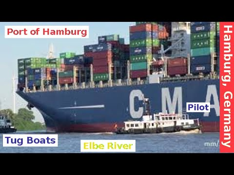 Hamburg, Germany: Tugboat, Pilot, Container Ship Entering the Port of Hamburg on a Sunny Day