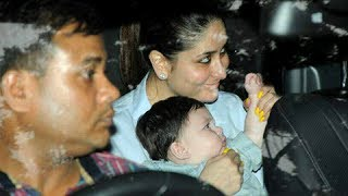 Kareena kapoor's son taimur waves at media at tusshar kapoor son laksshya's 1st birthday bash