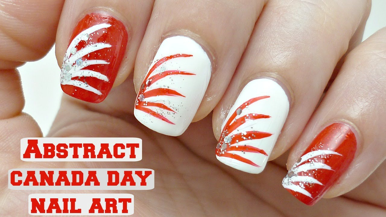 Easy Abstract Canada Day Nail Design Youtube