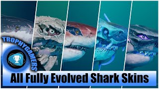 Maneater - All 5 Fully Evolved Shark Skins Gameplay (Maxed Out Evolution)