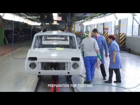 Как красят LADA 4x4(Нива) на АВТОВАЗЕ. NIVA's Paintshop  full footage in HD (English subs)