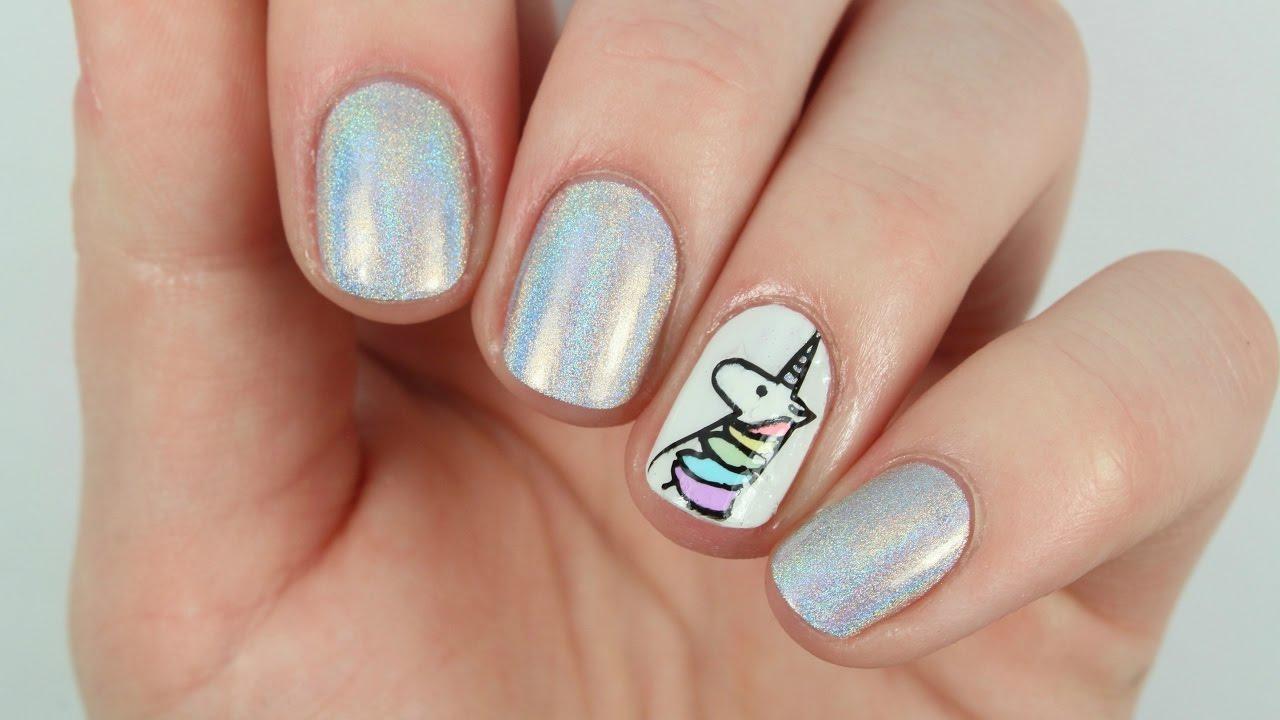 Adorable Holo Unicorn Nail Art! - Adorable Holo Unicorn Nail Art! - YouTube